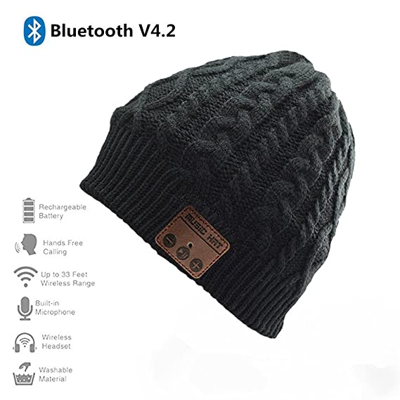 801f5a2a7e8 BearsFire Winter Outdoor Premium Wireless Bluetooth Beanie Hat Knit Music  Cap with Stereo Speaker Microphone Hands