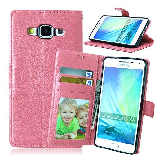 SRY-Funda móvil Samsung Samsung A5 Premium PU funda de piel color sólido soporte de la caja de silicona cubierta para Samsung Galaxy A5 ( Color : Blue , Size : Samsung A5 ) Pink