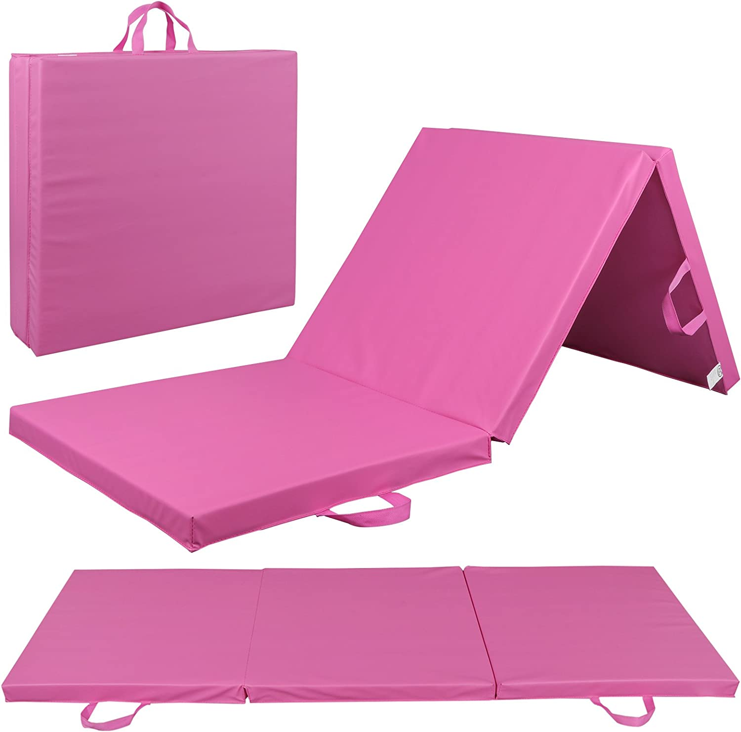 BBBuy 6' x 2' Tri-Fold Folding Exercise Gym Mat Thick Foam for Gymnastics Panel Aerobics Yoga Martial Arts MMA Stretching Core Workouts w/Carrying Handles