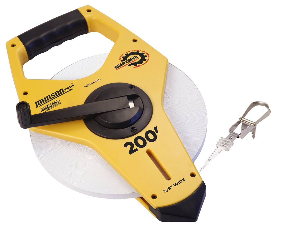 Johnson Level and Tool 1811-0200 200-Foot Big J Geared Nyclad Clad Steel Tape