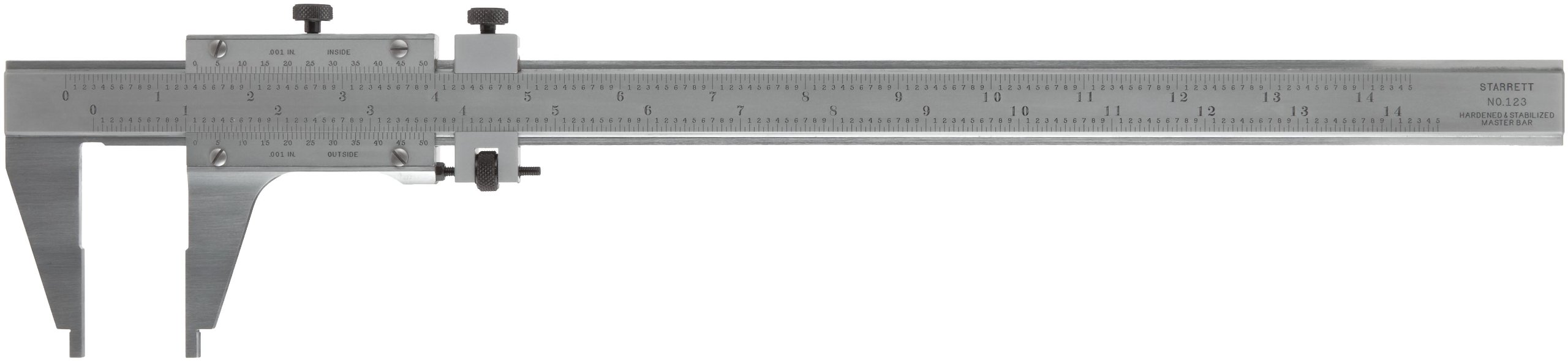 Starrett 123Z-12 W/SLC Vernier Caliper, Steel, Nib Style Jaw, 0-12'' Range, 0.001'' Resolution