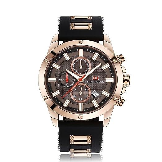 Relojes Hombres Relojes Deportivos Cronógrafo Moda Reloj de Pulsera de Cuarzo Resistente al Agua con Correa de Caucho Fecha Vestido de Negocios Relojes para ...
