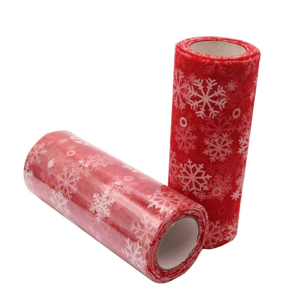 Heallily 10 Yards Weihnachten Handwerk Glitter t/üll Rolle Schneeflocke t/üll Gaze Band tischl/äufer tischdekoration f/ür Weihnachten Hochzeit Geburtstag Party Dekoration 15 cm
