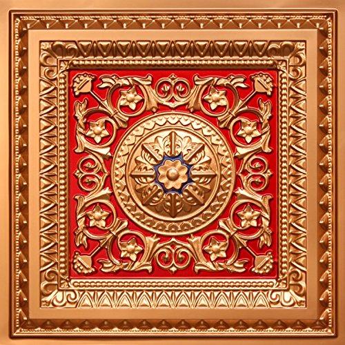223 Gold Red Blue 2 X 2 Pvc Decorative Ceiling Tile Glue Up Grid