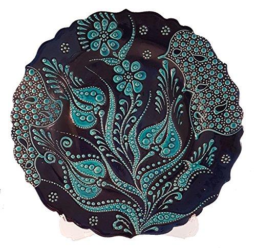 Bead Global Hand Painted Turkish Tulip Design Decorative Ceramic Plate Wall Hanging, Plates Display - Kitchen Home Decor (Cobalt (Miniature Pottery Vase)