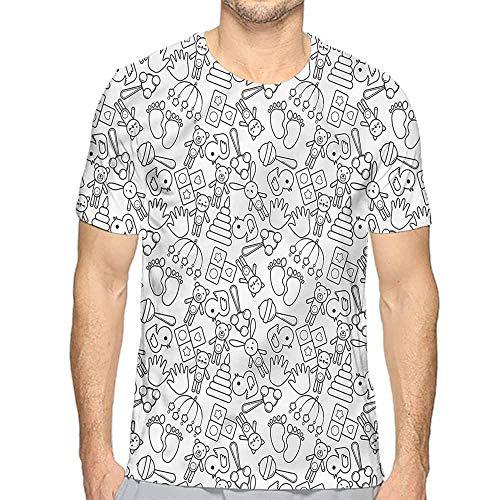 t Shirt for Men Black and White,Rattle Teddy Bear Custom t Shirt S