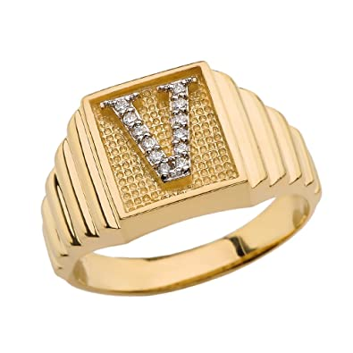 Completely new Men's 14k Yellow Gold Layered Band Square Face Diamond Initial  MG62