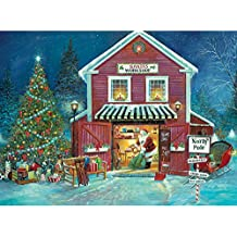 Bits and Pieces 1000 Piece Glow-in-the-Dark Jigsaw Puzzle for Adults - Santa's Workshop - 1000 pc Christmas, North Pole Jigsaw by Artist Ruane Manning