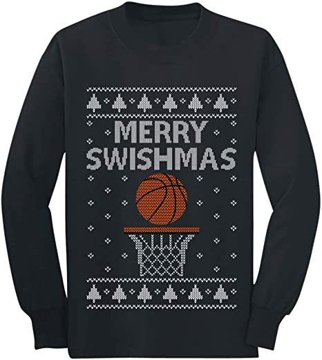 Merry Swishmas Basketball Christmas Ugly Sweater Kids T-Shirt Sport Fans