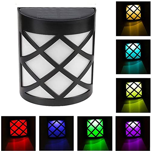 Coquimbo Solar Powered Garden Fence Lights Color Changing Outdoor Waterproof LED Wall Mounted Night Light for Home, Garden, Backyard, Pathway Decoration (1 Pcs)