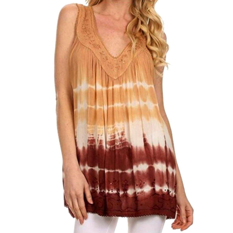 Goddessvan Summer Women Tops Plus Size Lace Fashion Print Sleeveless V-Neck Casual T-Shirt Vest