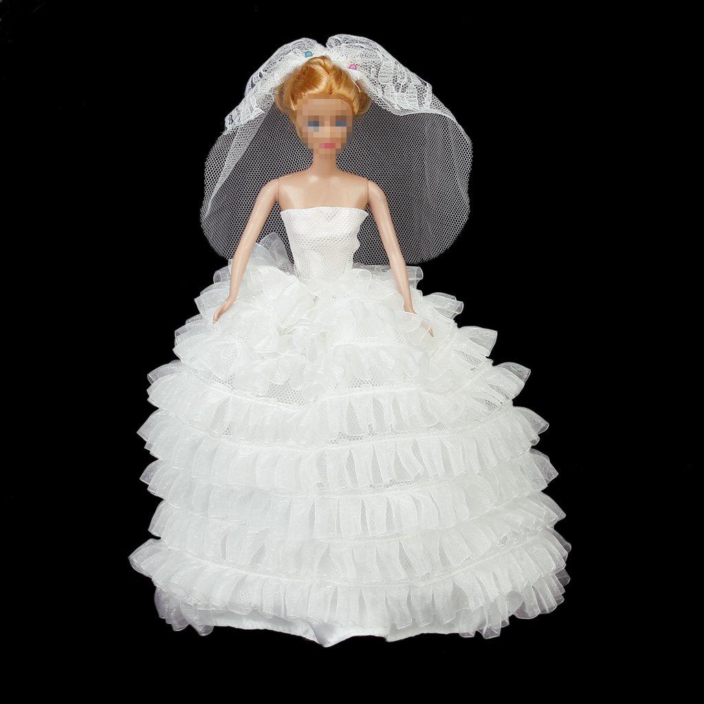 Vestido De Novia Vestido De Velo Para Muñecas - Blanco: Amazon.es: Juguetes y juegos
