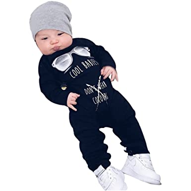 Amazon.com: Wesracia Baby Boys and Girls Long Sleeve Letter Print ...