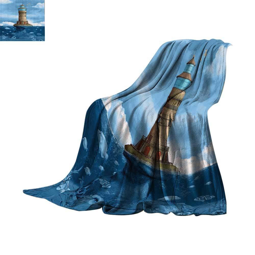 軽量ブランケット 灯台装飾コレクション 灯台シーガル 鳥 建築 海洋 リーフ 魚 海の中の風景 ティールブルー アイボリー グリーン オーバーサイズ トラベル スロー カバー ブランケット 50インチx30インチ W60 x L62 Inch B07N85KBL1 カラー W60 x L62 Inch