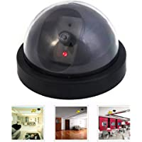 Elfishau Dummy Fake Security CCTV Dome Camera, Simulated Camera With Flashing Red LED Light - For Indoor And Outdoor Homes & Business, Warning Security Alert Tools