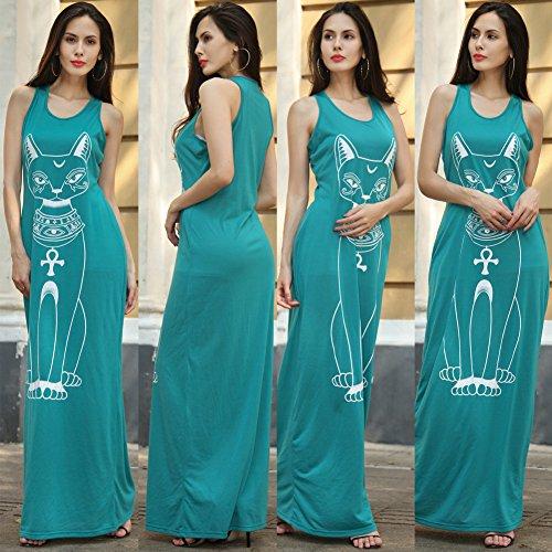 Elegant Verano Vestido Señoras IHRKleid® Lang Alta Cintura Sin mangas Playa KLEIDER Partykleid Verde claro