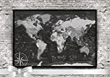 World Push Pin Map in Black and White - Beautifully Framed - Use as a Wall Map or Push Pin Map.