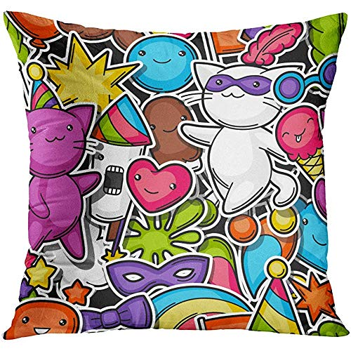 Throw Pillow Cover Japan Carnival Party Kawaii Cute Sticker Cats for Celebration and Symbols Anniversary Decorative Pillow Case Home Decor Square 20x20 inches Pillowcase