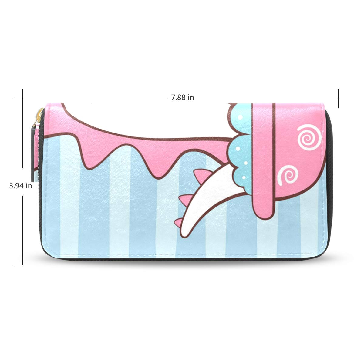 Women Cute Dino Wash Bathroom Pink Leather Wallet Large Capacity Zipper Travel Wristlet Bags Clutch Cellphone Bag