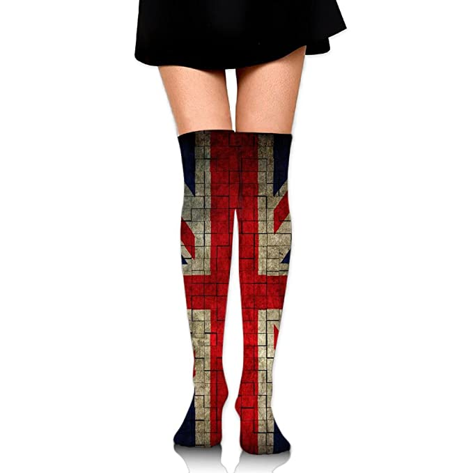 5de34c701b1 Amazon.com  HAIRUIYD Knee High Socks UK Banner Women s Work Stance Athletic  Over Thigh High Stockings  Clothing