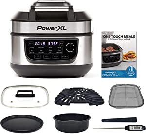 PowerXL Grill Air Fryer Combo Deluxe 6 QT 12-in-1 Indoor Grill, Air Fryer, Slow Cooker, Roast, Bake, 1550-Watts, Stainless Steel Finish