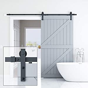 Genius Iron 8FT Single Barn Door Hardware, Classic Design Standard Track with Upgraded Nylon Bearings, for 42in-48in Wide Sliding Door Panel, Easy Installation,