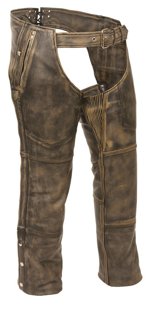 Mens Distressed Leather 4 Pocket Thermal Lined Chaps, Brown Size 3XL