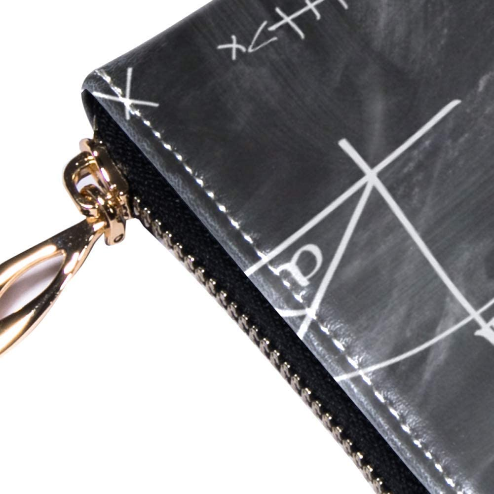 Womens Zip Around Wallet and Phone Clutch,Mathematics Formula Print,Travel Purse Leather Clutch Bag Card Holder Organizer Wristlets Wallets
