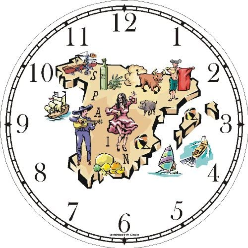 Map of Spain with Icon Landmarks Spain Theme Wall Clock by WatchBuddy Timepieces Hunter Green Frame