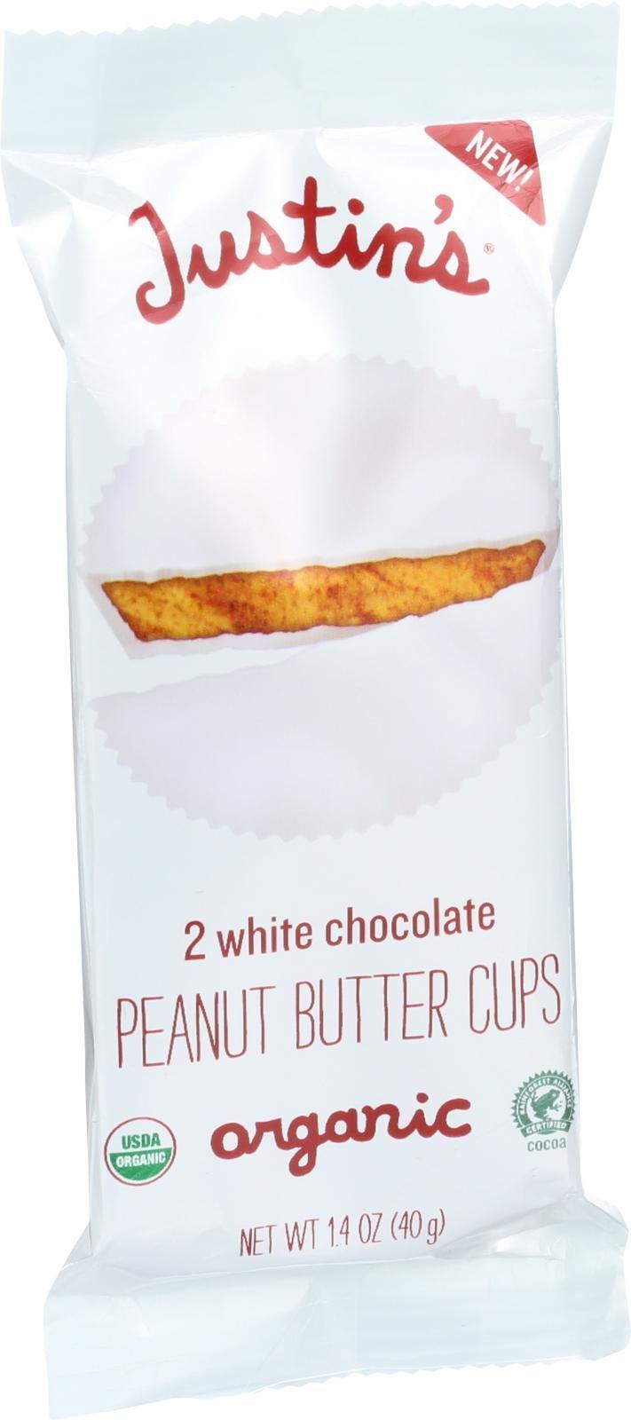 Justin s Nut Butter Organic Peanut Butter Cups - White Chocolate - 1.4 oz - Case of 12 - 95%+ Organic - Kosher - Gluten free