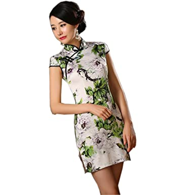 Yue Lian Damen Satin Helllila Chinesisch Pfingstrose Muster Qipao Minikleid  Sommerkleid (38—TagXL)
