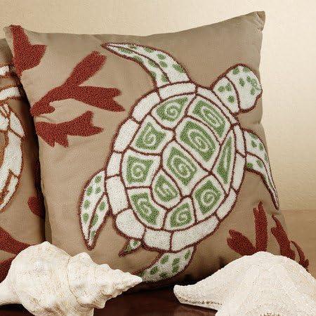 C F Enterprises Sandpiper Cove Square Turtle Pillow