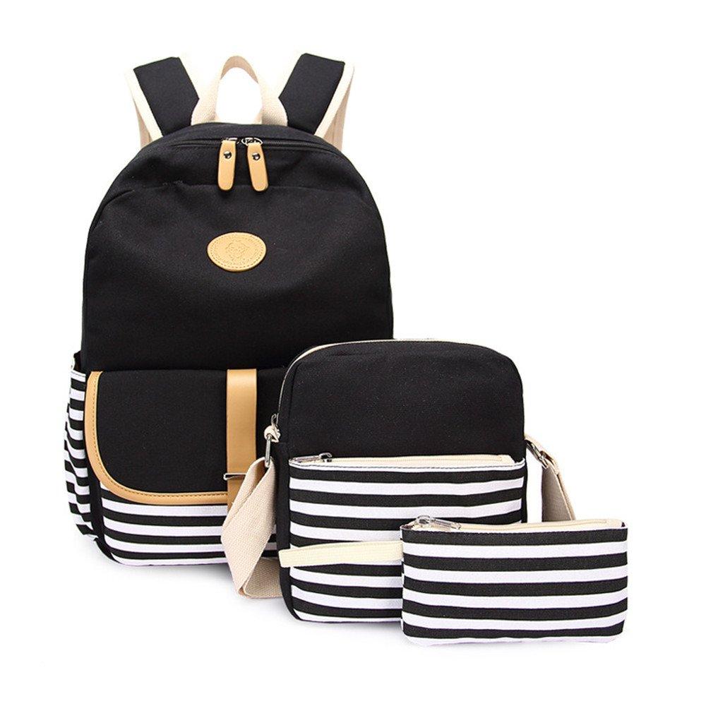 Backpacks Canvas School,Girls' 3 Set Fashion Backpack Colorful shopping Bags Travel Pack for Backpack Laptop Shoulder Bag Pencil Case(Black)Boens