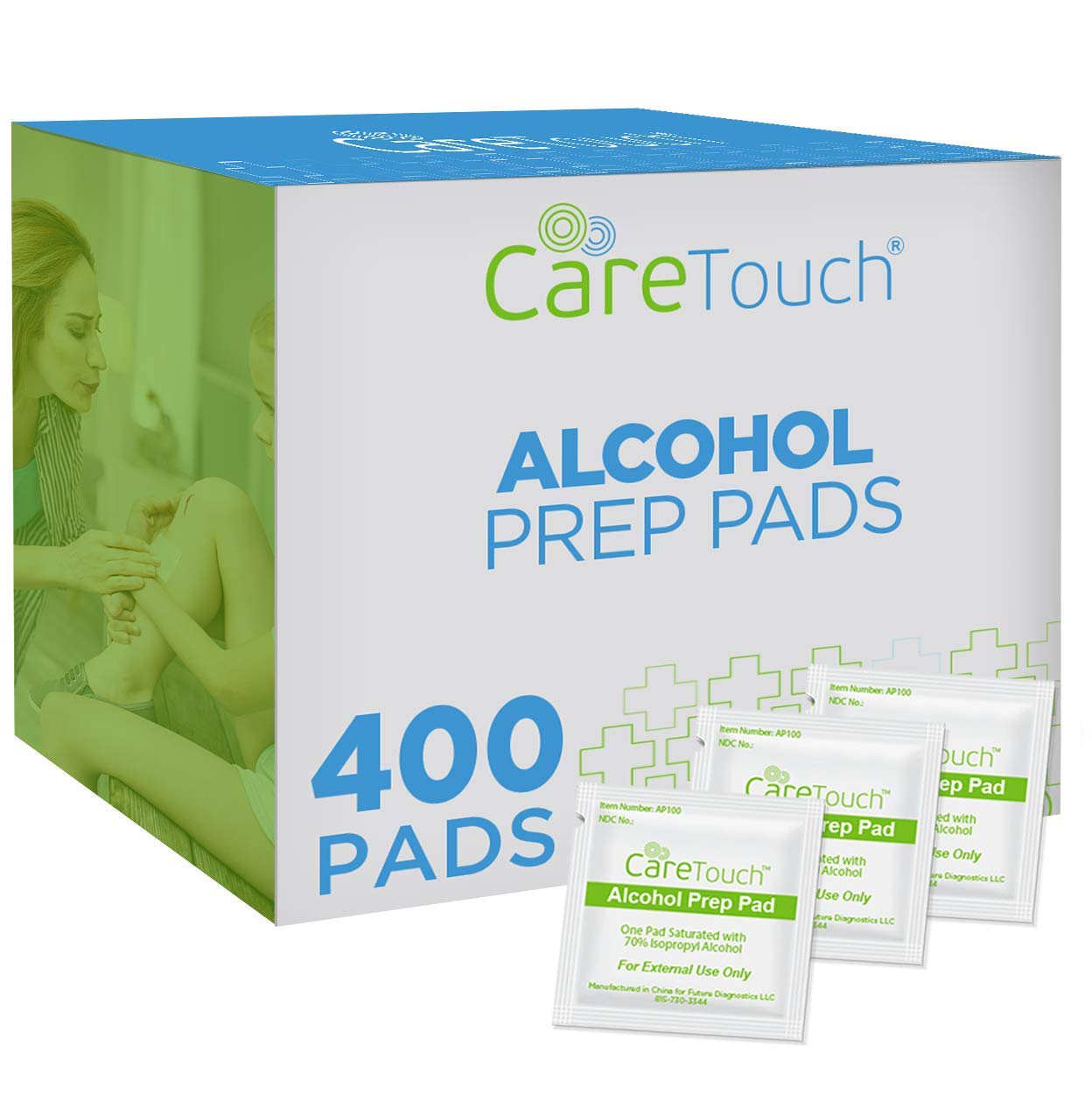 Care Touch Sterile Alcohol Prep Pads, Medium 2-Ply - 400 Alcohol Wipes (CTAP400-VC)