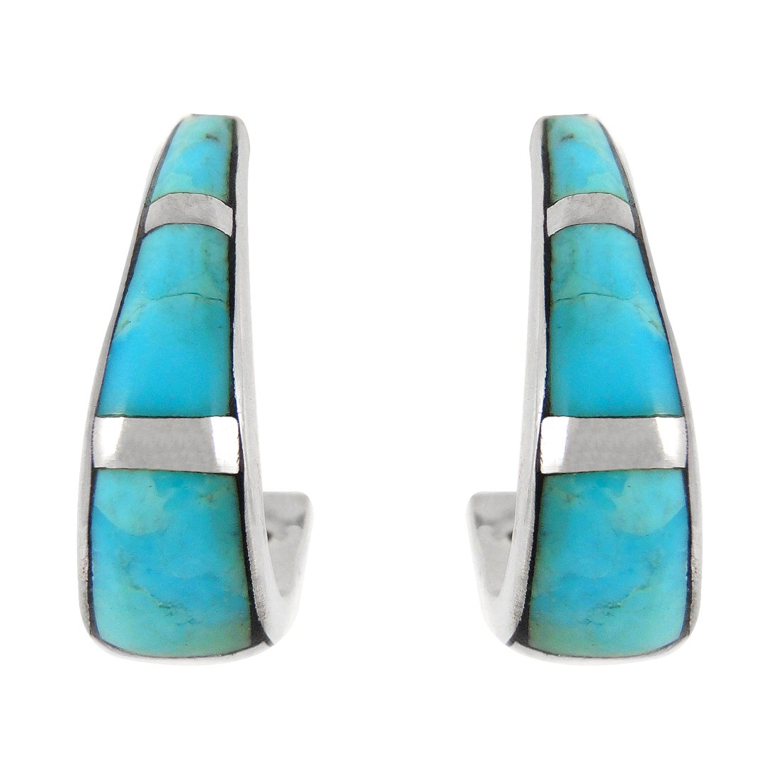 925 Sterling Silver Earrings Genuine Turquoise J-Hoops (Turquoise)