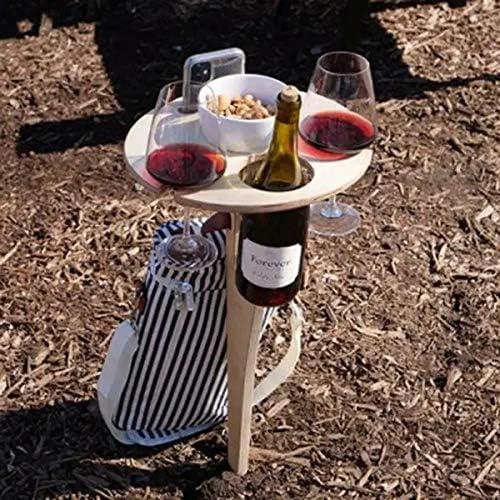 tragbarer Weintisch Outdoor BBQ Picknick Weinglashalter f/ür Camping und Essen Grillen Park Terrasse Strand Hof abnehmbarer Holztisch f/ür Garten Outdoor-Weintisch