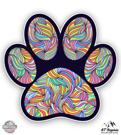 Paw Print Cute Colorful Tangle Design - 3