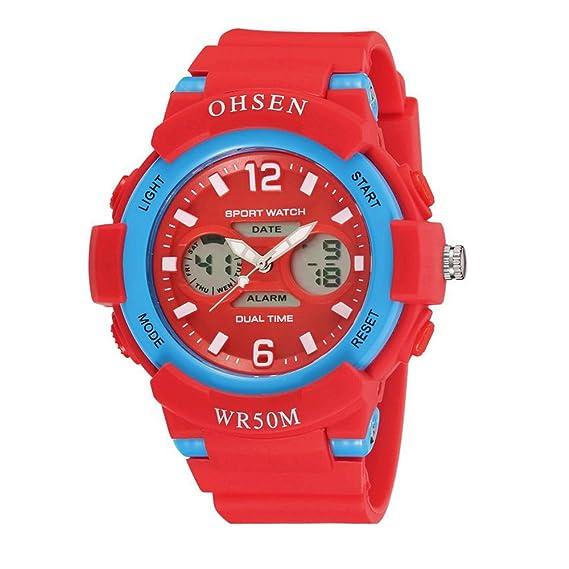 relojes digitales de moda fresco del deporte al aire libre para adolescentes llevado de múltiples correa de caucho de color rojo claro: Amazon.es: Relojes