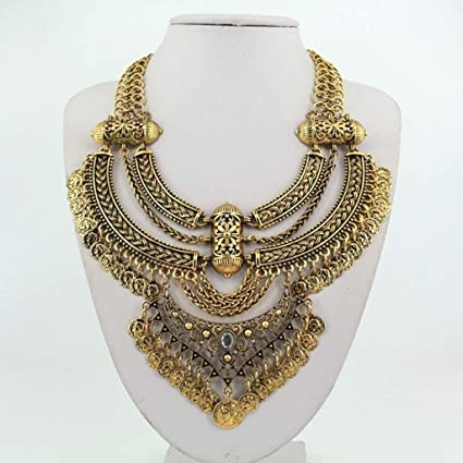 Amazon com: Naomi Retro Coin Multi Layer Necklace Gold