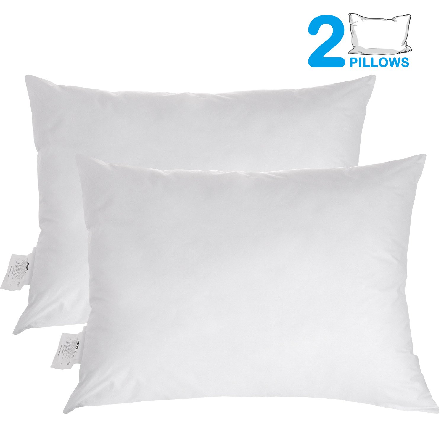 Benewell Pillow for Sleeping, 100% Cotton and Super Soft Plush Fiber Fill,Hypoallergenic & Dust Mite Resistant, Five-Star Hotel Collection Bedding Pillows,Standard/King 20''x 36''(2 Pack)