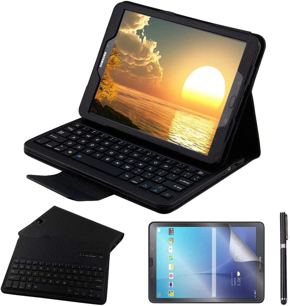 Galaxy Tab S3 9.7 Keyboard Case with Screen Protector & Stylus, REAL-EAGLE Slim Separable Fit PU Leather Case Cover Wireless Keyboard for Samsung Galaxy Tab S3 9.7 Inch SM-T820 T825, Black