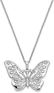 Rhodium-Plated Sterling Silver CZ Fly Away with Me Butterfly Pendant Necklace 18 22x31MM