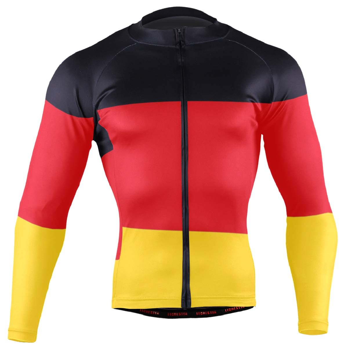 CHINEIN Men's Cycling Jersey Long Sleeve with 3 Rear Pockets Shirt German Flag by CHINEIN