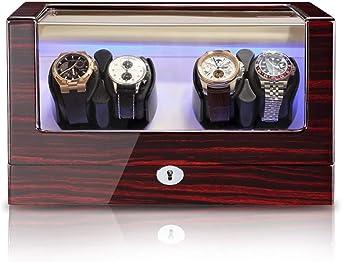 Caja Relojes Automaticos 4 + 0 Estuche de Almacenamiento Madera para Caja de enrollador de Reloj automático para 4 Relojes de Pulsera, 5 Modos de rotación y Motor silencioso, luz Ambiental: Amazon.es: Relojes