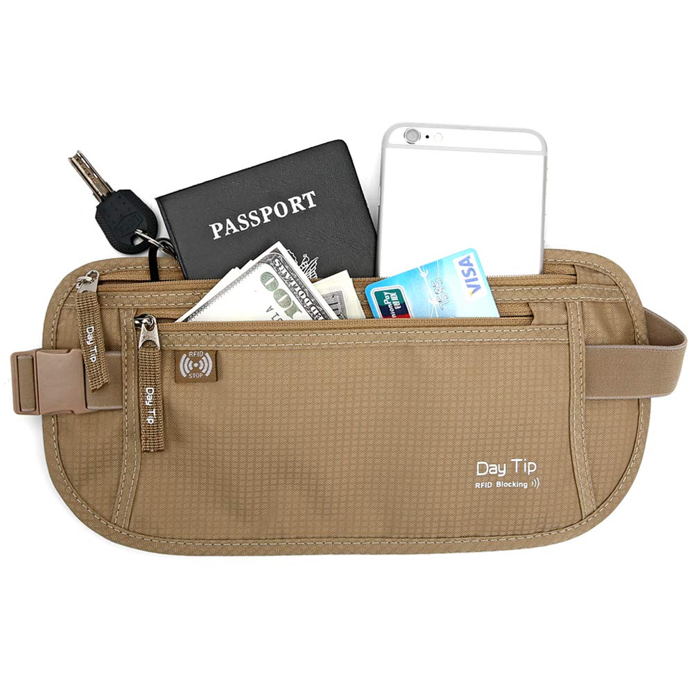 DAITET Money Belt - Passport Holder Secure Hidden Travel Wallet with RFID Blocking, Undercover Fanny Pack (Beige) by Day Tip