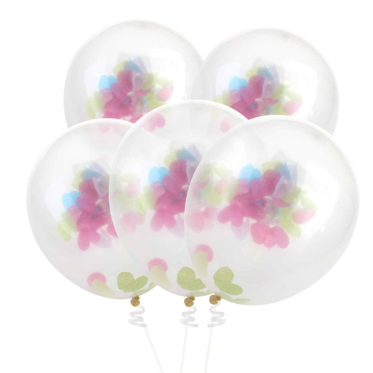 NUOLUX Confetti Balloons Transparent Balloons with Colorful Love Confettis 5pcs
