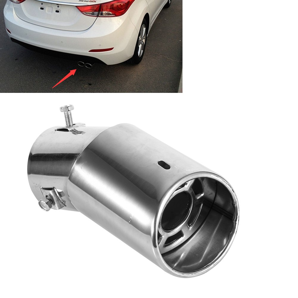 Stainless Steel Exhaust Muffler Tail Pipe Tailpipe Trim Tip 62mm Universal Rear Car Exhaust Muffler Pipe End Tip