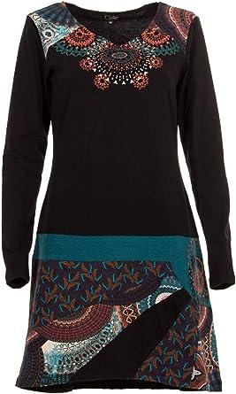 Coline Vestido Corto de Invierno étnico,Vestido de Punto para Dama 97% Algodón 3% Elastano: Amazon.es: Ropa y accesorios