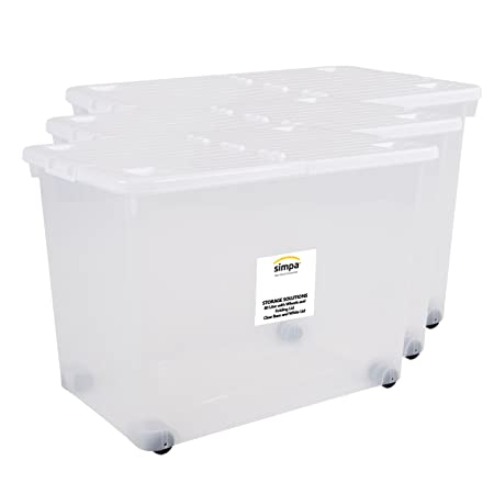 Simpa® 80 Litre 80L Large Big Plastic Clear Storage Box With White Hinged  Lid And