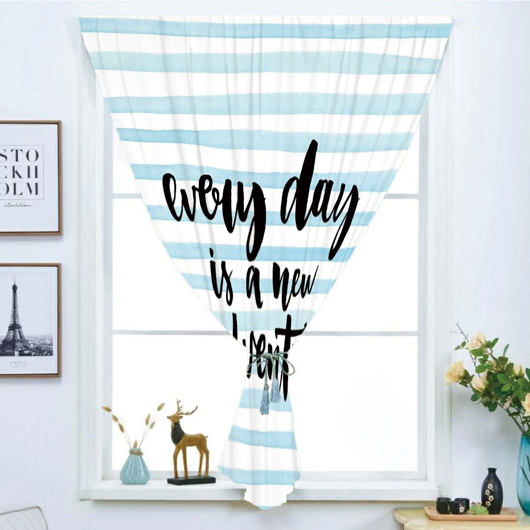Blackout Curtain Free Punching Magic Stickers Window Curtain,Adventure,Every Day is a New Adventure Quote Inspirational Things About Life Artwork,Baby Blue Black,for Living Room Bedroom, study, kitche